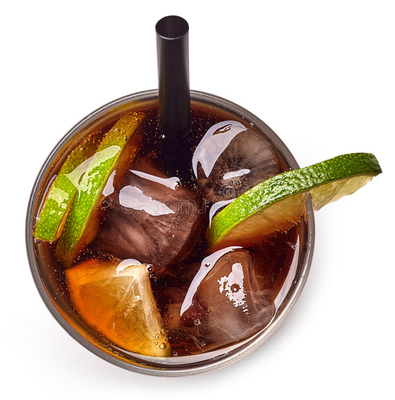 Cuba libre cocktail with rum, cola and lime. Isolated on white background. From top view stock photos