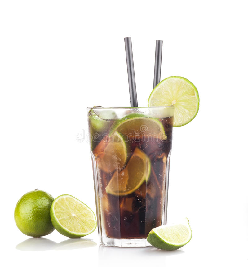 Cuba Libre Coctail. With lime on a white background royalty free stock photos