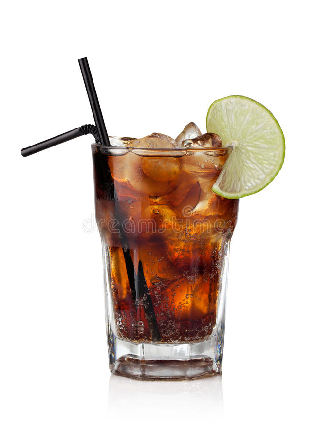 Cuba libre. Drink with lime on a white background stock photo