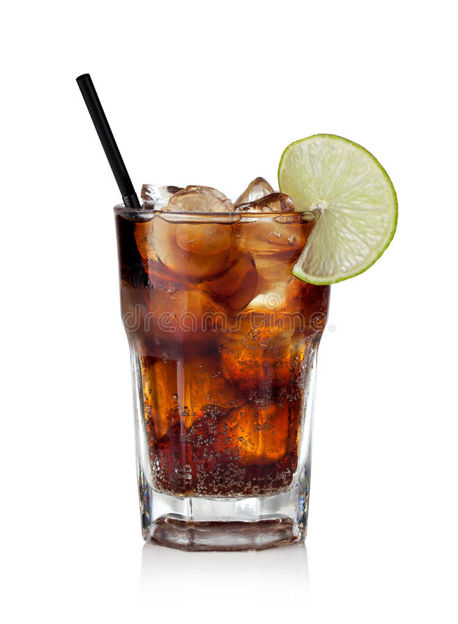 Cuba libre. Drink with lime on a white background stock images