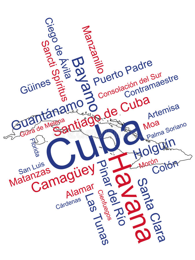 Cuba Map and Cities. Cuba map and words cloud with larger cities vector illustration