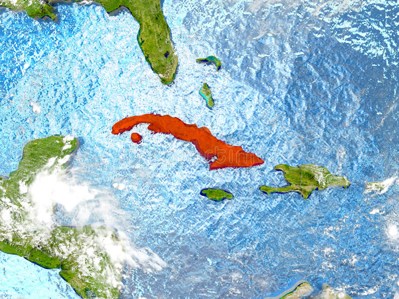 Cuba On Map With Clouds Stock Illustration Image Of Cuban - Cuba on map