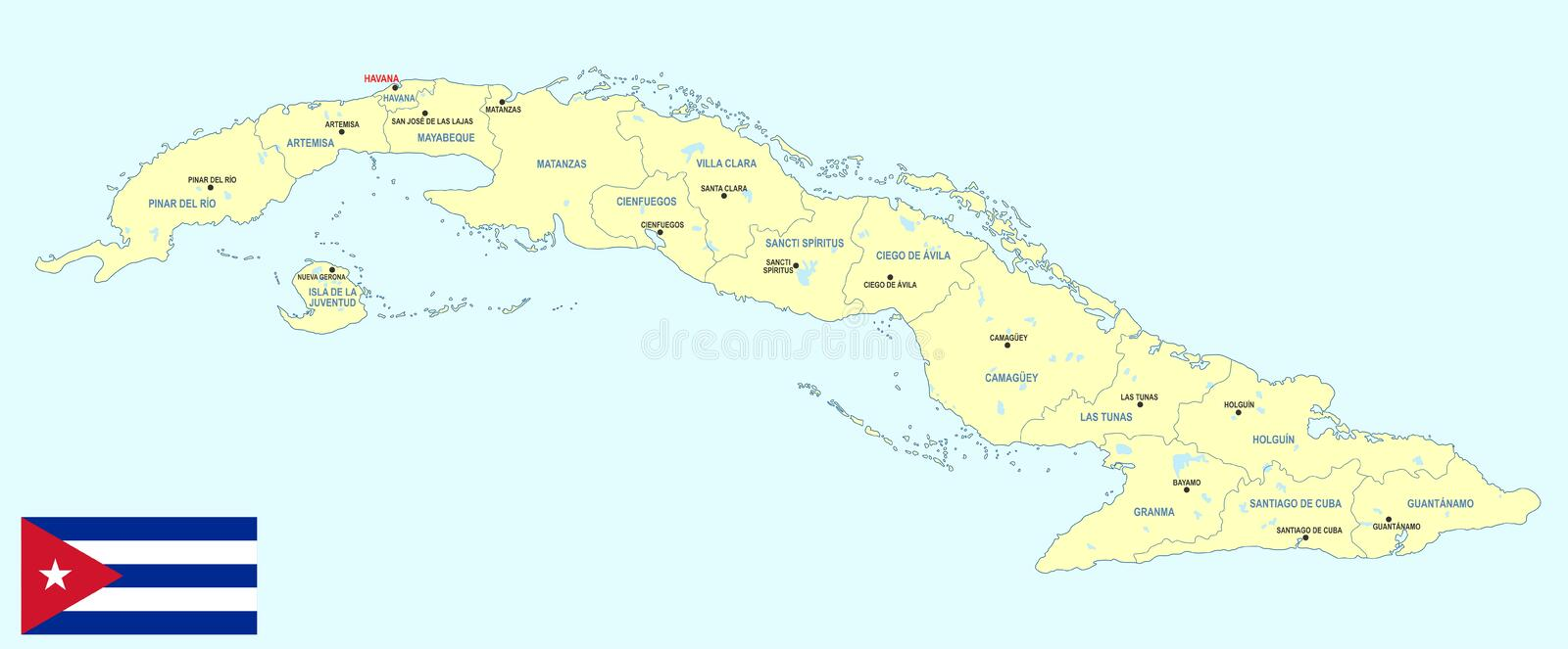 Cuba map - cdr format. Cuba map with regions main cities and flag vector illustration