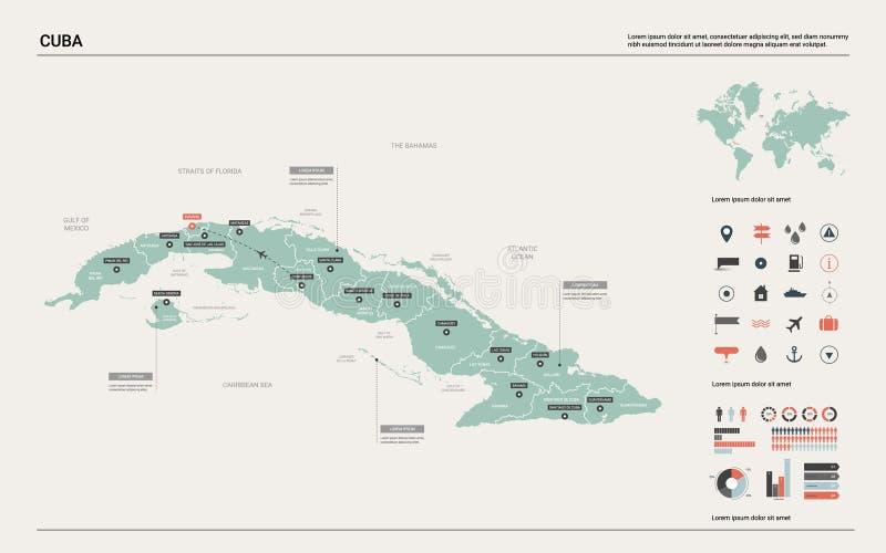 cuba mapy wektor Wysokość wyszczególniał kraj mapę z podziałem, miastami i kapitałem Hawańskimi, Polityczna mapa, ?wiatowa mapa,  ilustracji
