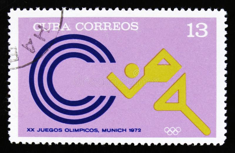 Cuba met een beeld van een atletenagent, van reeks XX de Zomerolympische spelen, München, 1972, circa 1973 royalty-vrije stock afbeelding