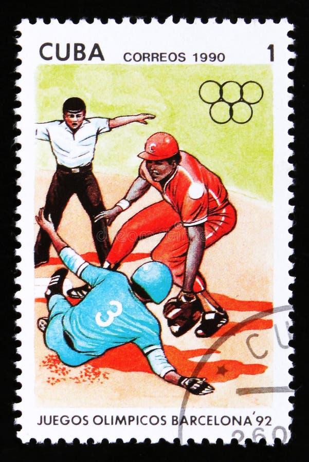 Cuba mostra jogadores de beisebol, série devotada aos 25os Jogos Olímpicos do verão em Barcelona 1992, cerca de 1990 foto de stock royalty free