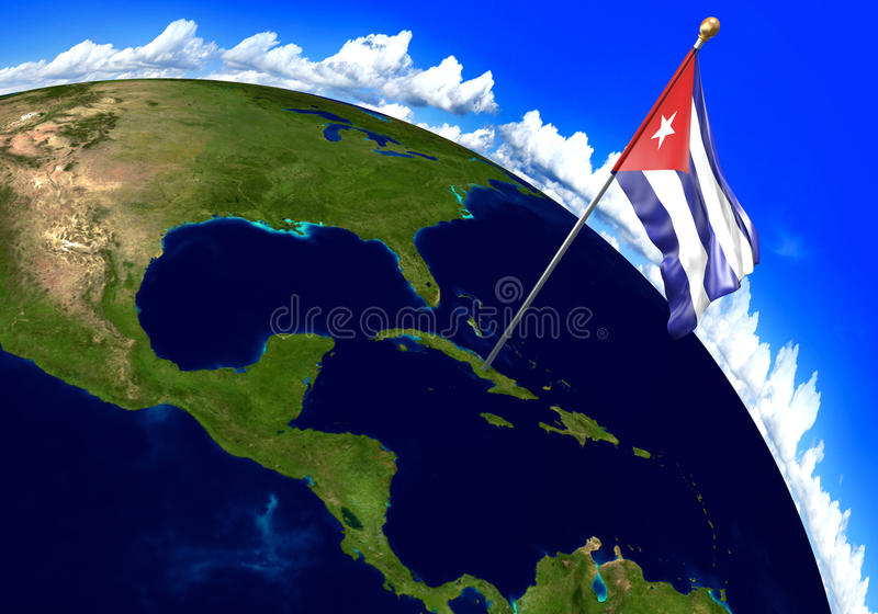 Cuba national flag marking the country location on world map 3d 3d render of the national flag of cuba over the geographic location of the country on a world map parts of this image furnished by nasa gumiabroncs Gallery