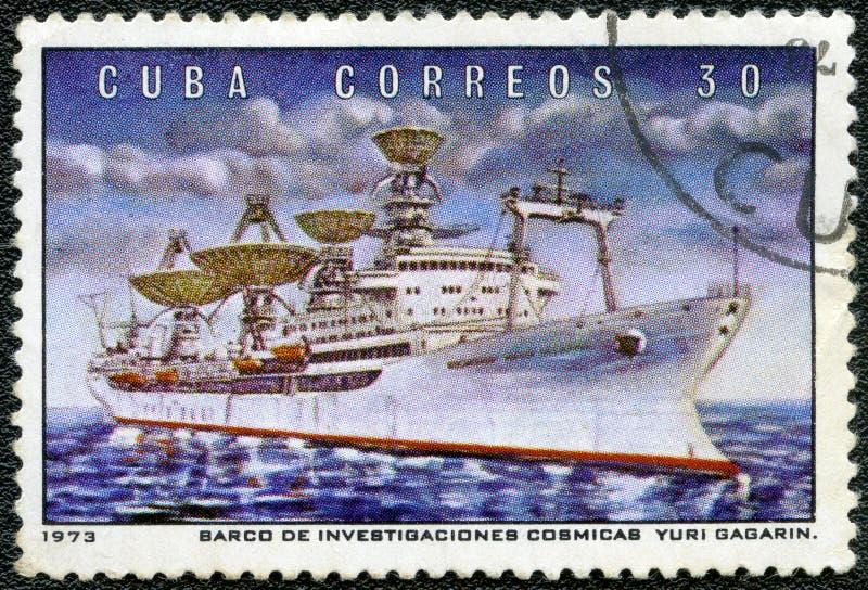 CUBA - 1973: navio Yuri Gagarin da observação do radar das mostras, programa especial do soviete da série fotografia de stock