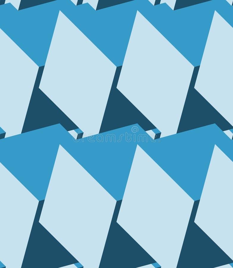 Cuba o teste padrão 3d sem emenda Fundo azul monocromático ilustração stock