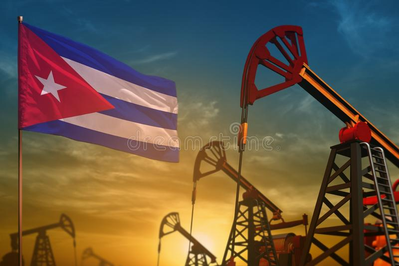 Cuba oil industry concept. Industrial illustration - Cuba flag and oil wells against the blue and yellow sunset sky background -. Cuba oil industry concept stock image