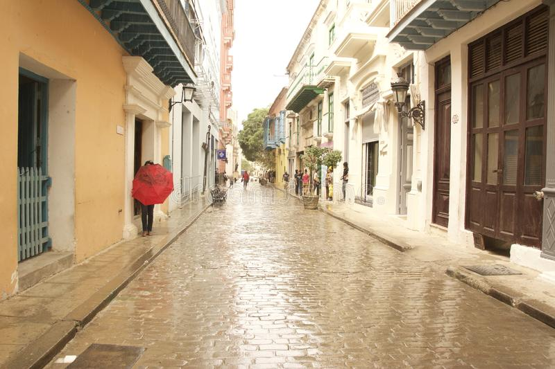 Cuba Old Havana wet street stock photography