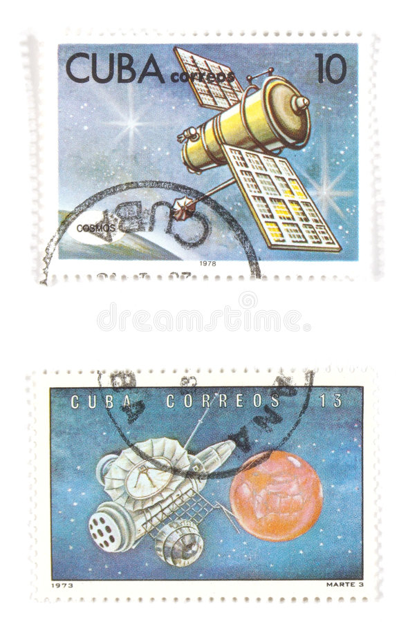 Cuba - old postage stamps. Collectible stamps from Cuba. Set with space exploration concepts stock images