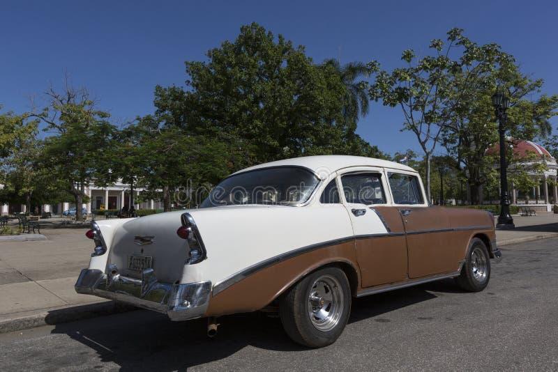 Cuba, Oldtimer. Cuba, brown Oldtimer in cienfuegos stock photo