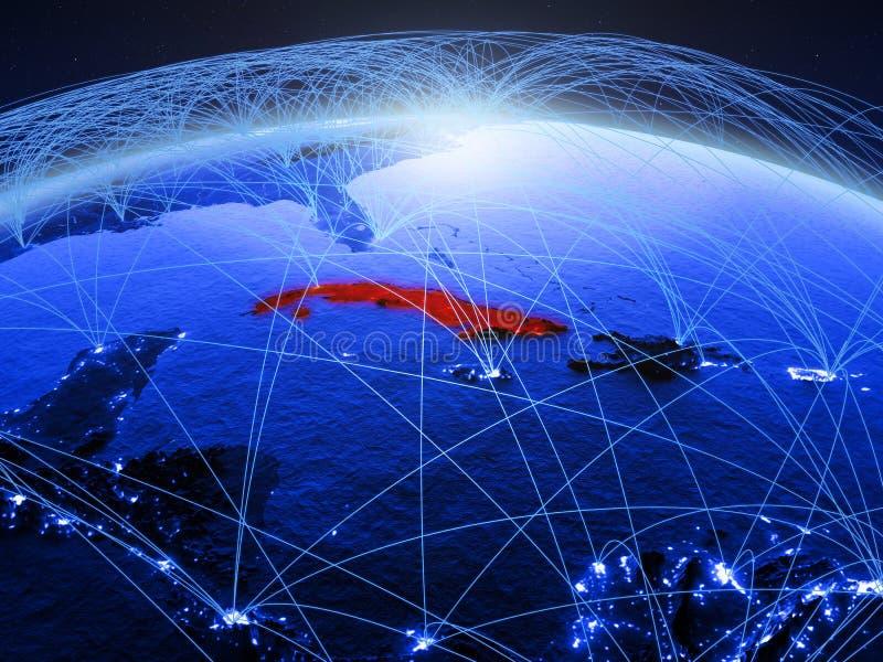 Cuba op blauwe digitale aarde met internationaal netwerk die mededeling, reis en verbindingen vertegenwoordigen 3D Illustratie stock fotografie