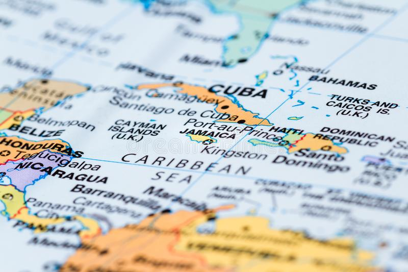 Cuba op een kaart stock foto's