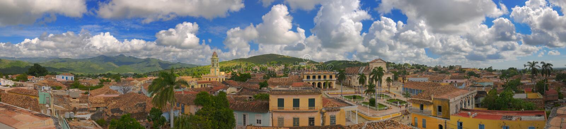 cuba panoramatown trinidad arkivfoton