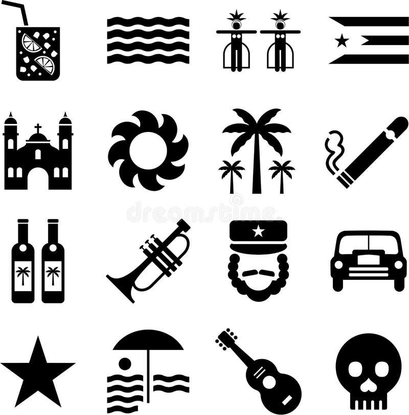 cuba pictograms vektor illustrationer