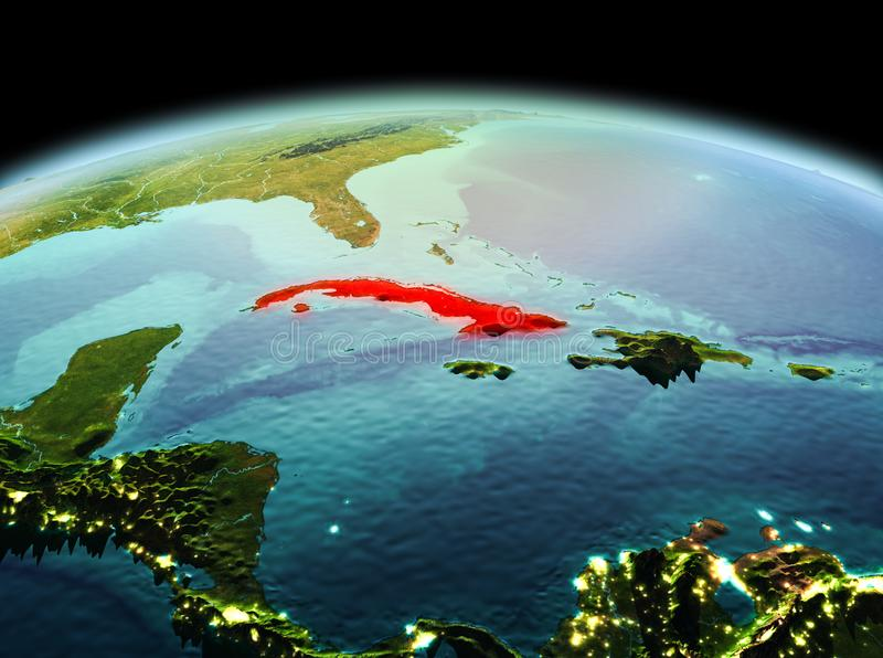 Cuba on planet Earth in space. Morning above Cuba highlighted in red on model of planet Earth in space. 3D illustration. Elements of this image furnished by NASA royalty free stock photos