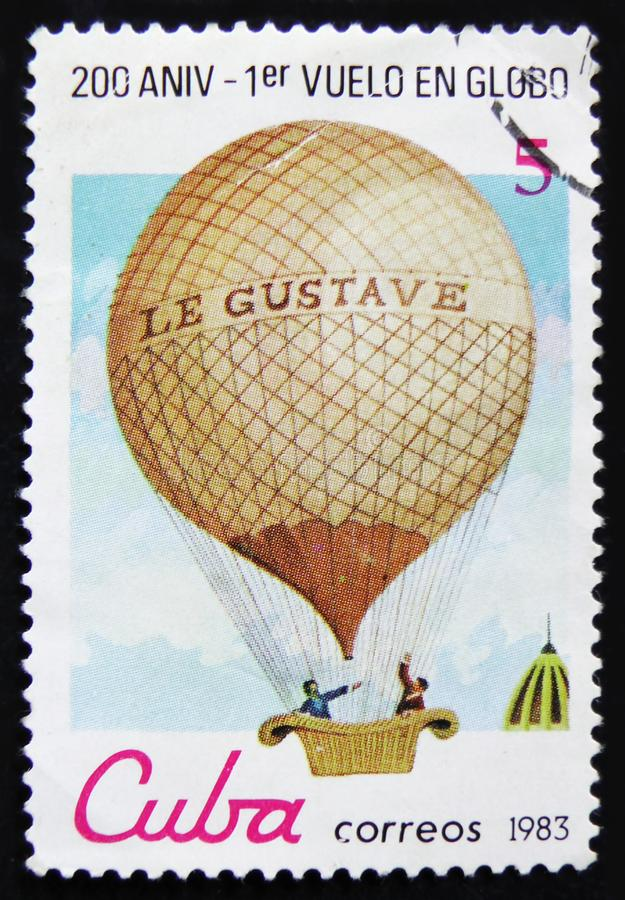 Cuba postage stamp shows Montgolfier balloon `Le Gustave`, series `Bicentenary of the 1st Manned Balloon Flight`, circa 1983. MOSCOW, RUSSIA - APRIL 2, 2017: A stock photos