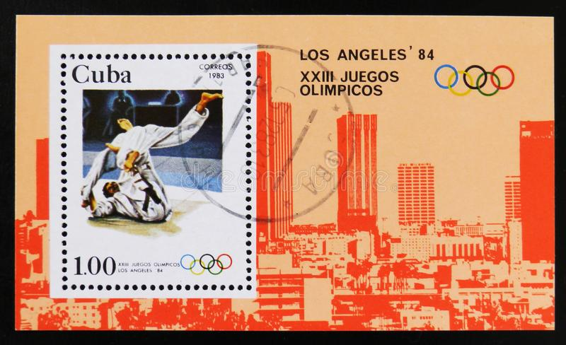 Cuba postage stamp shows Wrestling, 23th Summer Olympic Games, Los Angeles 1984, USA, circa 1983 royalty free stock photography