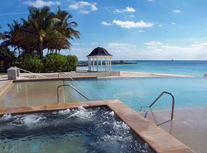 Cuba quente e piscina em uma praia tropical fotografia de stock