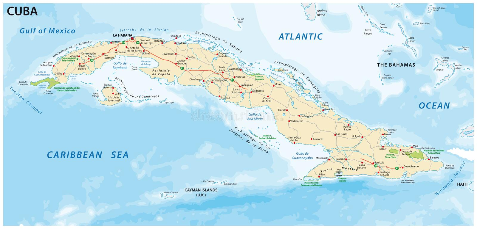 Cuba road and national park vector map.  vector illustration