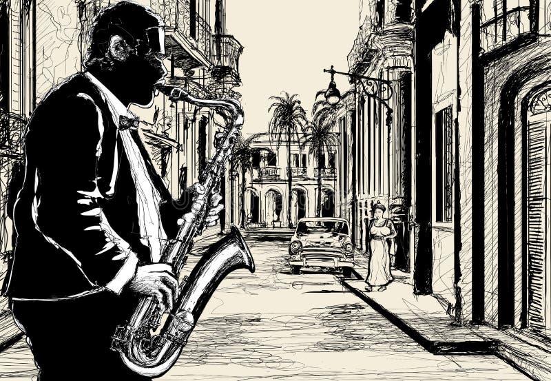 cuba saxofonistgata stock illustrationer