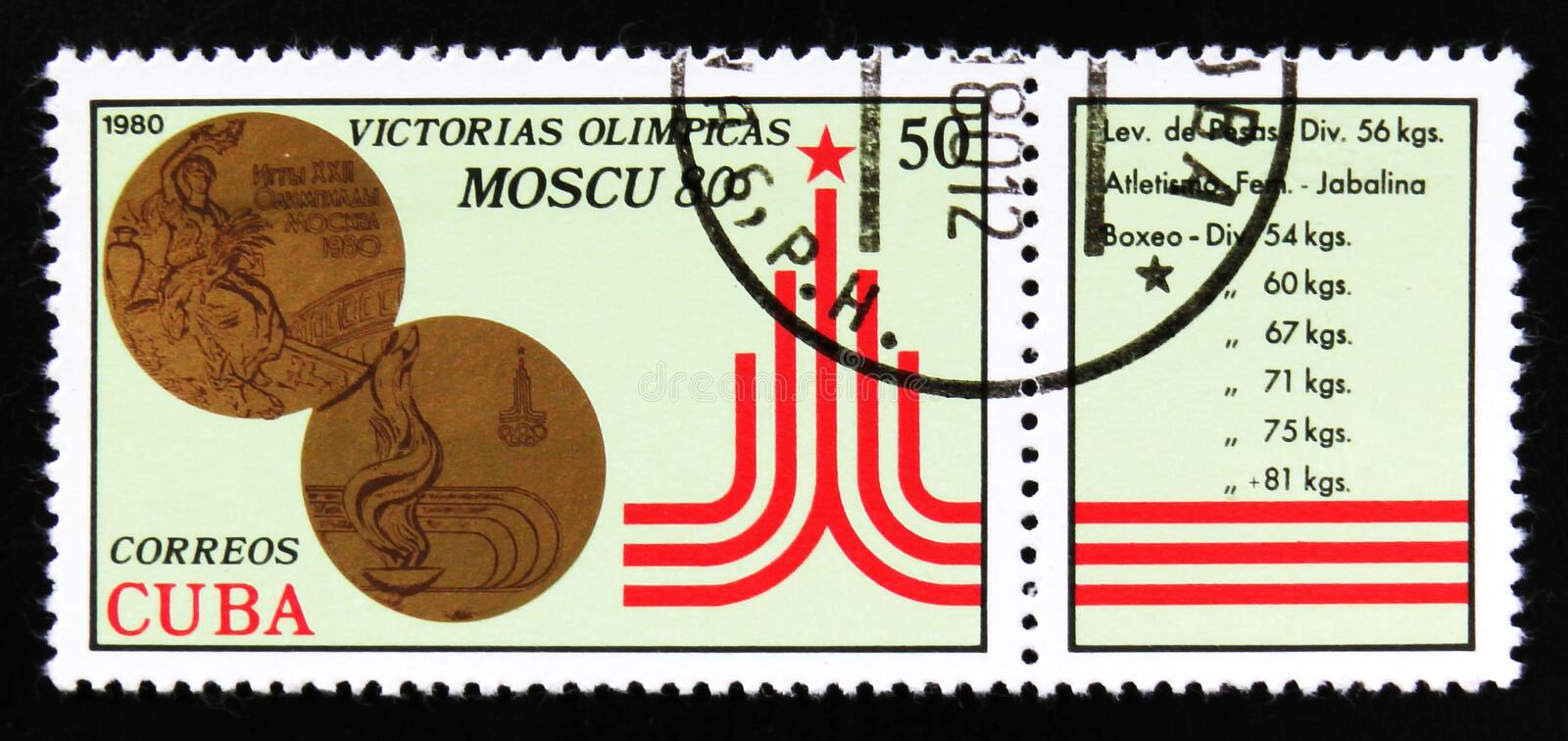 Cuba shows Bronze medals, series Victory of Cuban Athletes at the 1980 Summer Olympics in Moscow, circa 1980. MOSCOW, RUSSIA - JUNE 26, 2017: A stamp printed in royalty free stock photography