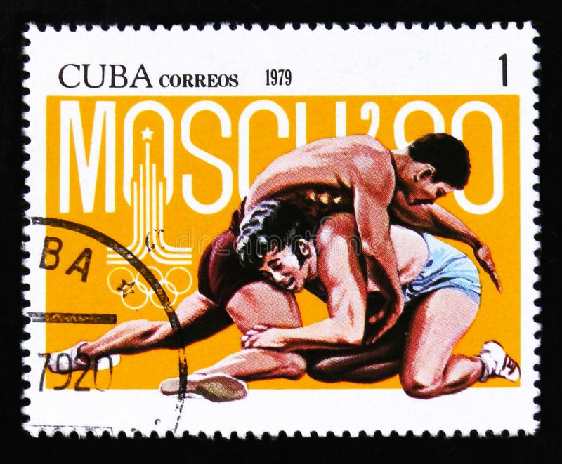 Cuba shows Two wrestlers, Summer olympic games in Moscow 1980, circa 1979 stock images