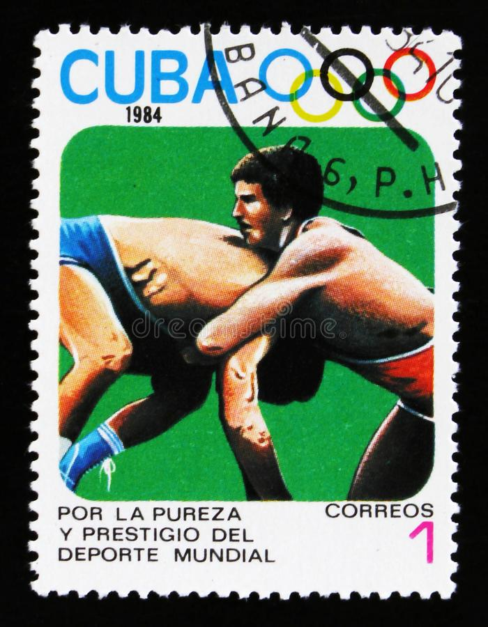 Cuba shows two wrestlers, 23th Summer Olympic Games, Los Anbgeles 1984, USA, circa 1984 stock images