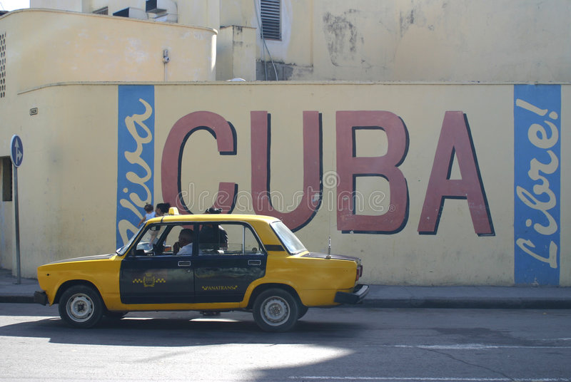 Cuba Sign. Cuba libre sign on wall with taxi, Havana, Cuba