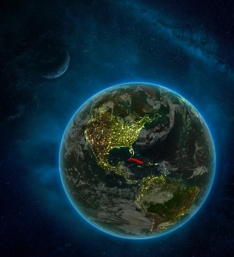 Cuba from space on Earth at night surrounded by space with Moon and Milky Way. Detailed planet with city lights and clouds. 3D. Illustration. Elements of this vector illustration