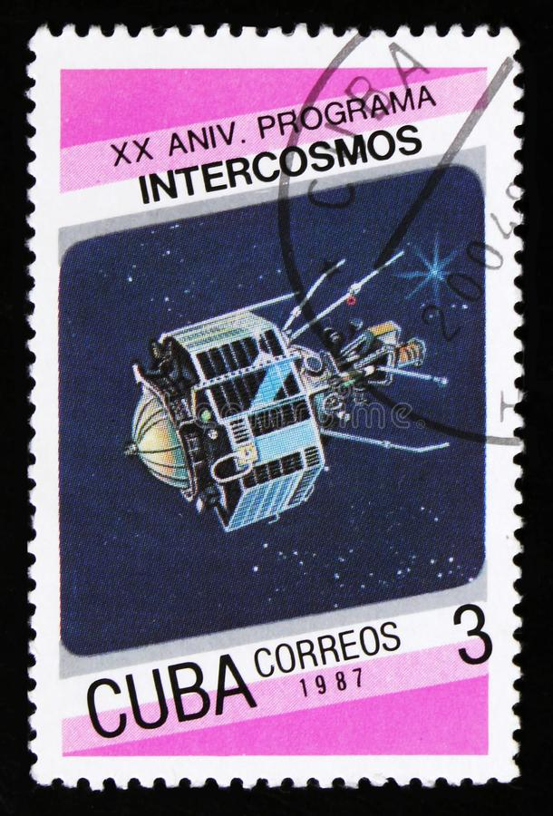 Cuba from the 20th anniversary of Intercosmos program issue shows space satellite, circa 1987 royalty free stock photo