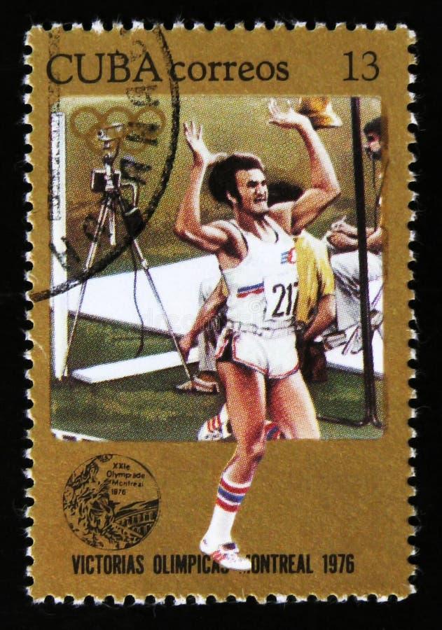 Cuba toont Atletenagent, reeks toegewijd aan de Spelen 1976, circa 1976 van Montreal stock afbeeldingen