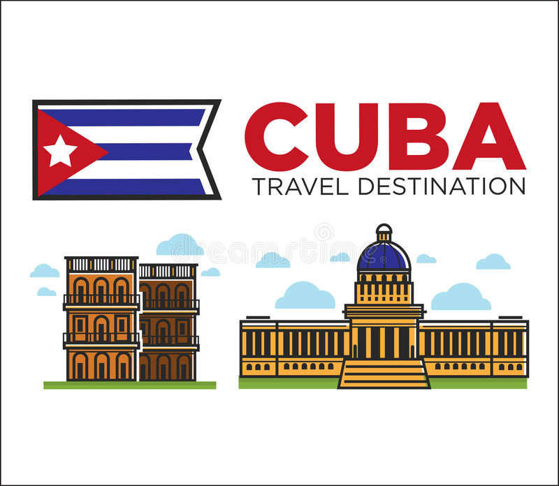Cuba travel famous landmarks and sightseeing vector Havana icons stock illustration