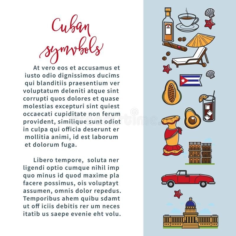 Cuba travel poster with information on Cuban culture famous symbols and Havana landmarks. Vector Cuba flag, cigar or rum and coffee, avocado or cocktail and stock illustration
