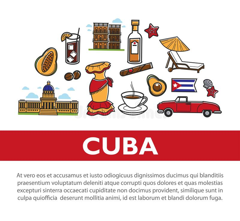 Cuba travel poster with information on Cuban culture famous symbols and Havana landmarks. Vector Cuba flag, cigar or rum and coffee, avocado or cocktail and vector illustration