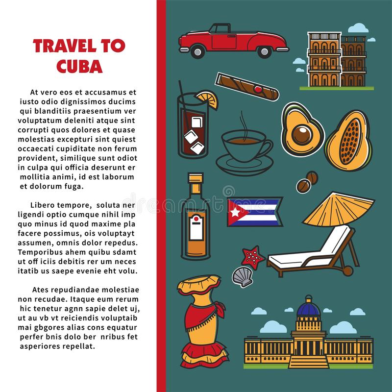 Cuba travel poster with information on Cuban culture famous symbols and Havana landmarks. Vector Cuba flag, cigar or rum and coffee, avocado or cocktail and royalty free illustration