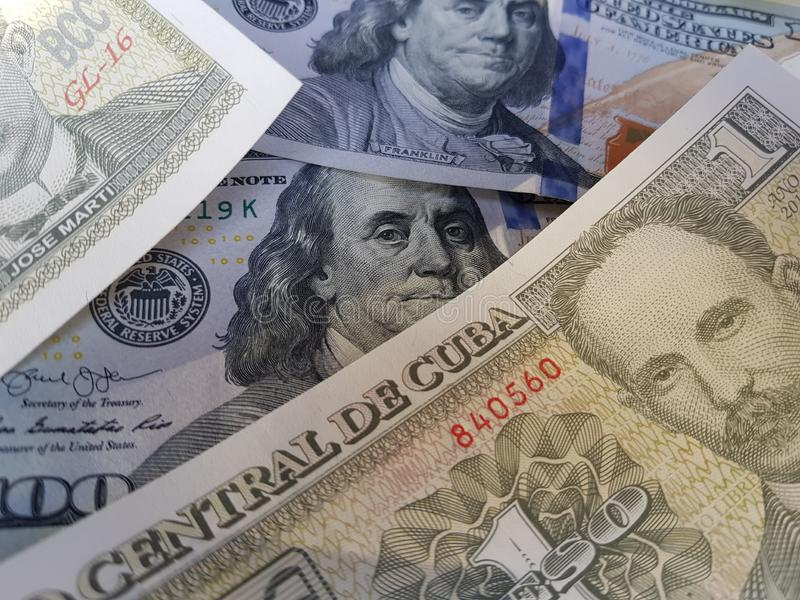 Cuba and the United States Join in the trade and economy, banknotes Use it as a Forex or Financial.  royalty free stock image
