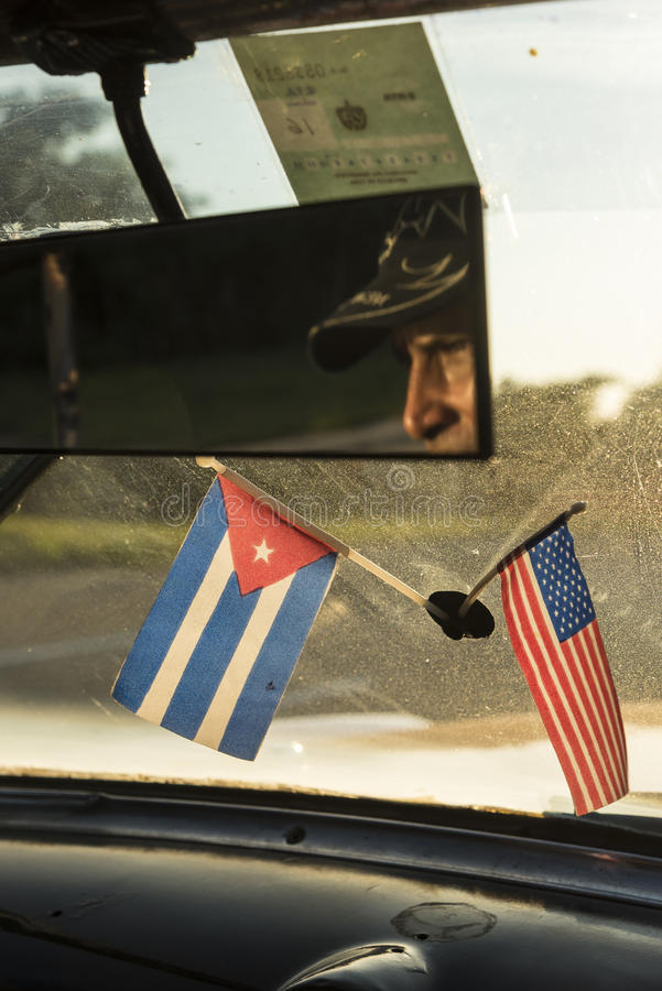 Cuba and USA flags stock photos