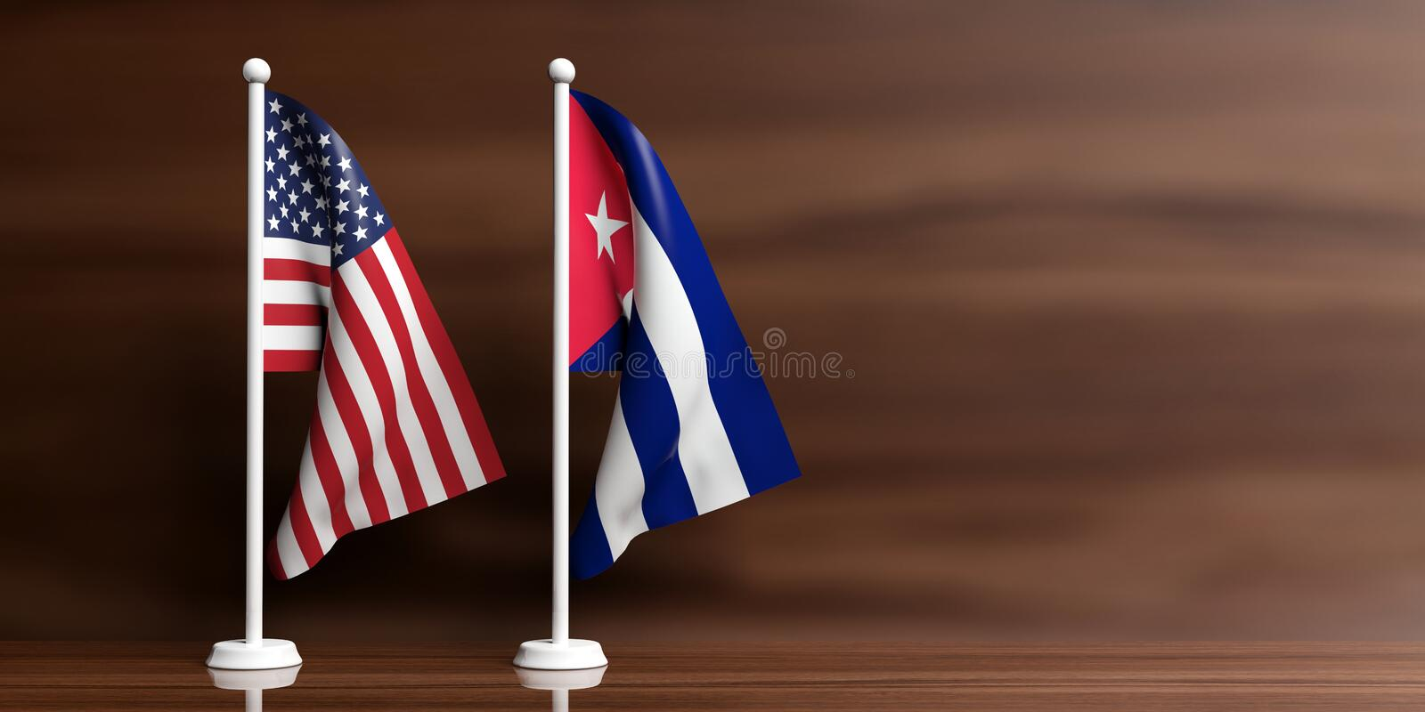 Cuba and USA flags on wooden background. 3d illustration. Cuba and USA miniature flags on wooden background. 3d illustration vector illustration