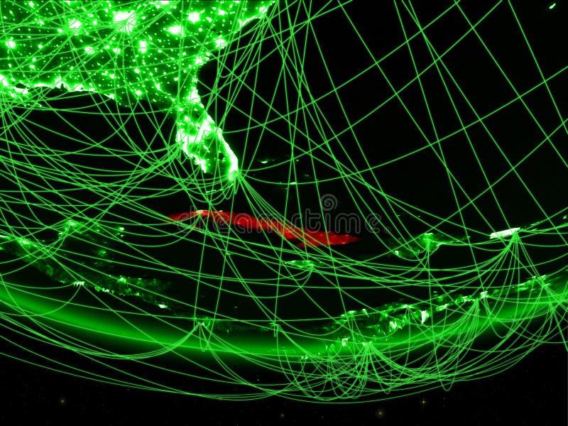 Cuba van ruimte met netwerk stock afbeelding