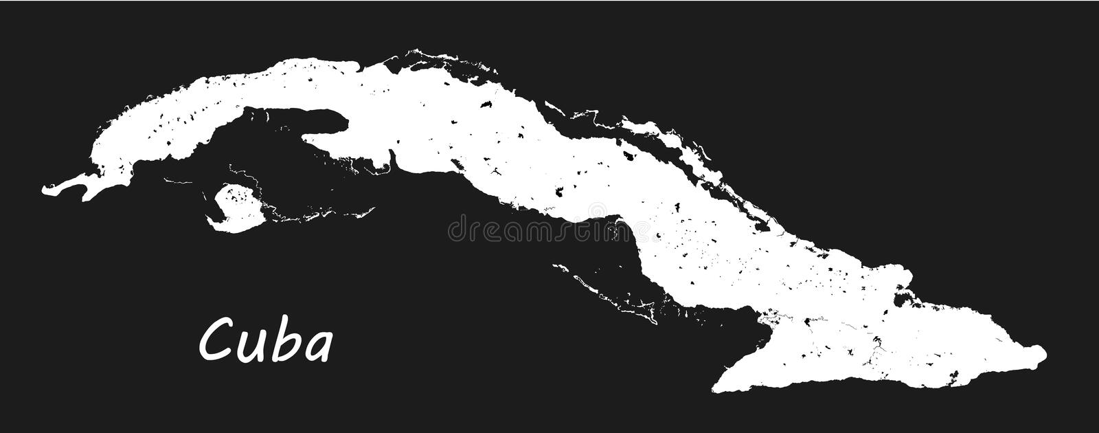 Cuba. Vector black and white map. Geographic map detailed outlines with designation of lakes and rivers. vector illustration