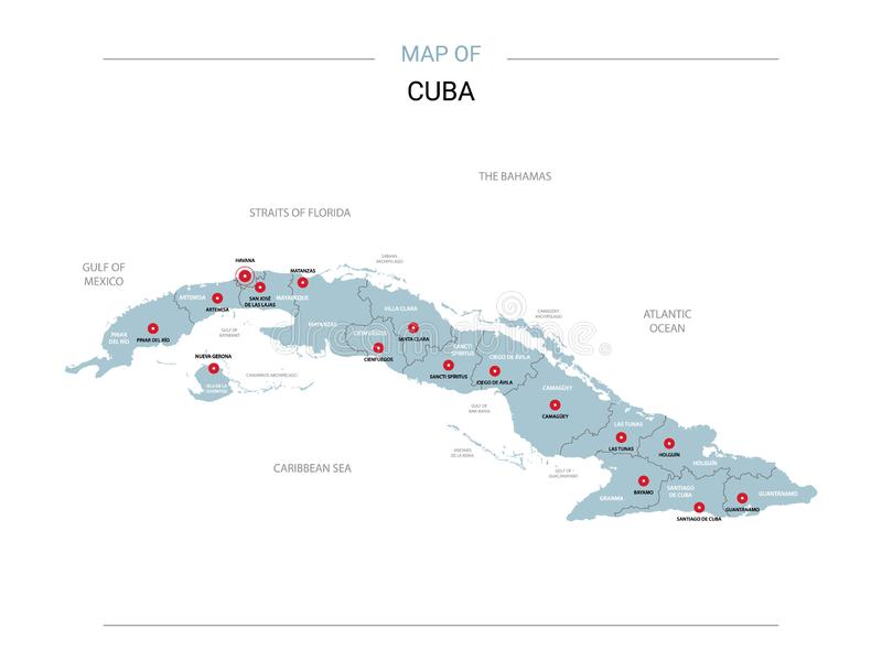 Cuba vector map. Editable template with regions, cities, red pins and blue surface on white background royalty free illustration