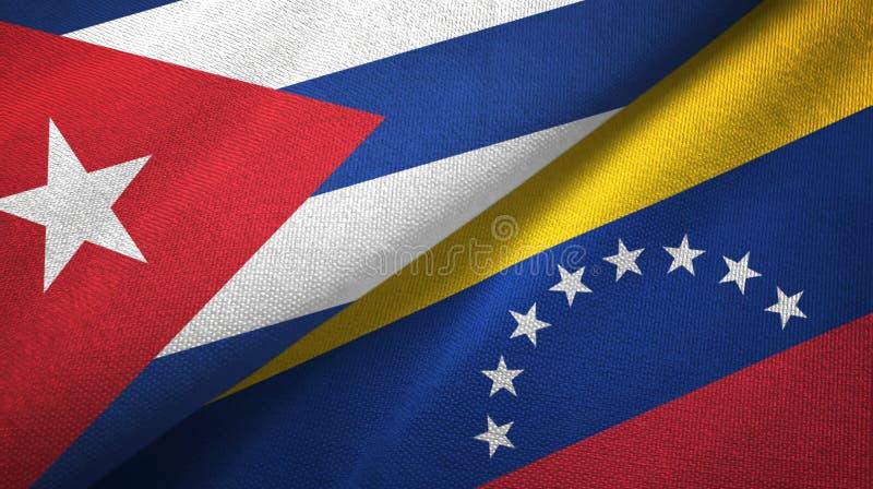 Cuba and Venezuela two flags textile cloth, fabric texture. Cuba and Venezuela flags together textile cloth, fabric texture royalty free illustration