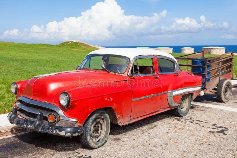 Cuba, very old American car in Havana royalty free stock image