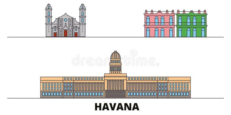 Cuba, vlakke de oriëntatiepunten vectorillustratie van Havana City Cuba, Havana City-lijnstad met beroemde reisgezichten, horizon royalty-vrije illustratie