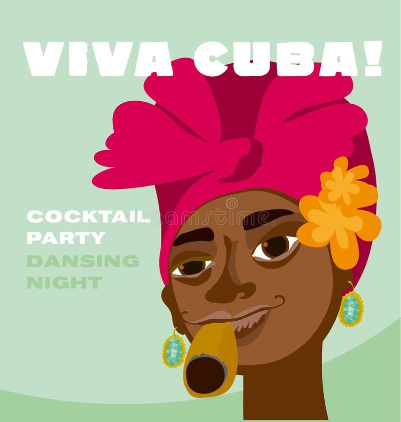 Cubaans vrouwengezicht royalty-vrije illustratie