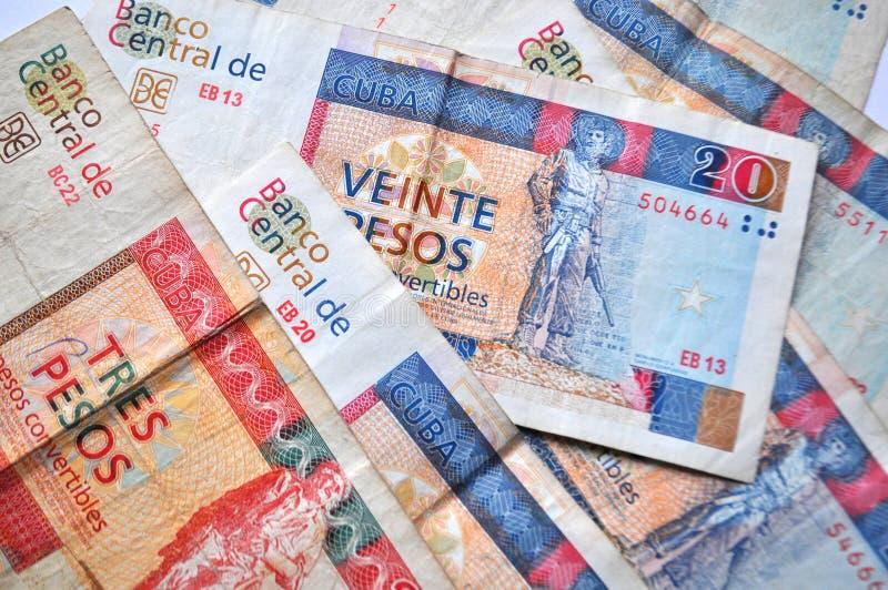 Cubaanse munt - het convertibele detail van peso'sbankbiljetten, geld dichte omhooggaand royalty-vrije stock fotografie