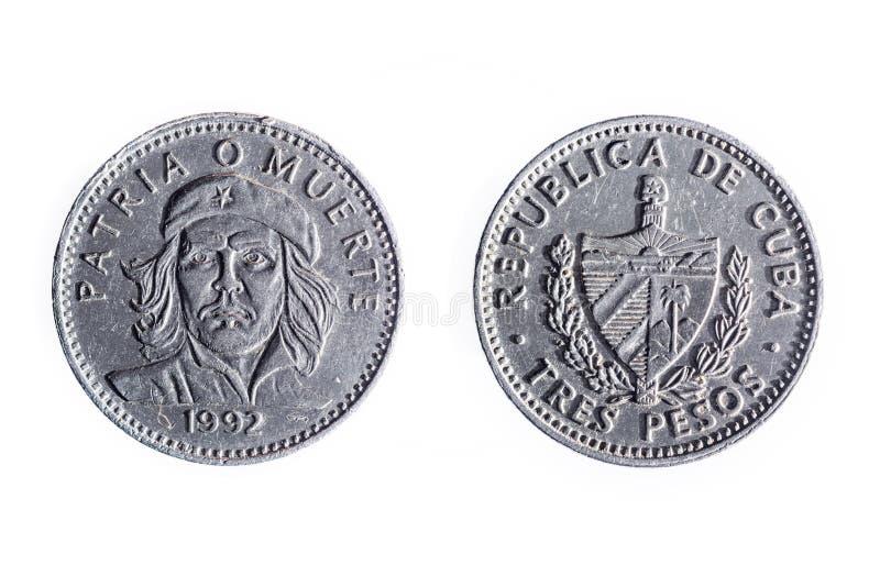 Cubaanse munt van drie peso's stock afbeeldingen